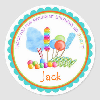 Candy Circus Stickers- boy colors Classic Round Sticker