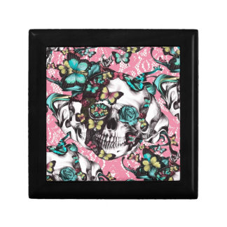Candy coated girly butterfly rose skull. jewelry box