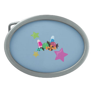 Candy Collage Halloween Design Oval Belt Buckle