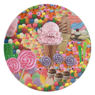 Candy collage Plate Pink
