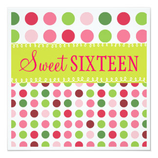 Candy Color Polka Dot Sweet 16 Birthday Party Card