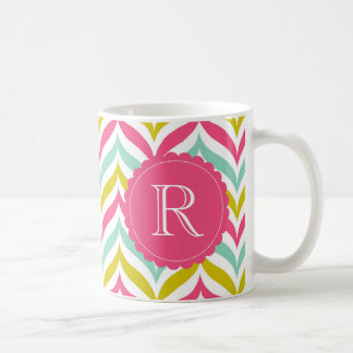 Candy Colored Chevron Waves Pattern Monogram Mug