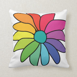 Candy Colored Daisy Flower Square Pillow