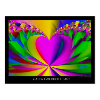 Candy Colored Heart Modern Art  Print