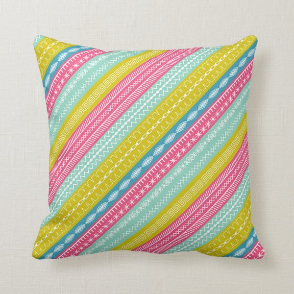 Candy colored stripes overlaid sewing stitches throw pillow