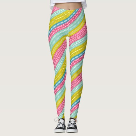 Candy colored stripes sewing stitches overlaid leggings