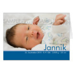 Candy Colors Blau Geburtskarte - Baby Announcement Greeting Cards