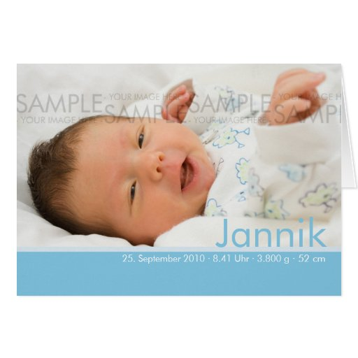 Candy Colors Blau Geburtskarte - Baby Announcement Greeting Card