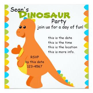 Candy Colors Dino 5.25x5.25 Square Paper Invitation Card
