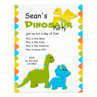 Candy Colors Dino Personalized Invitations