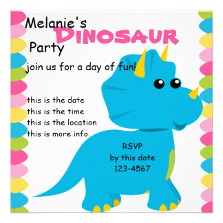 Candy Colors Dino Personalized Invites