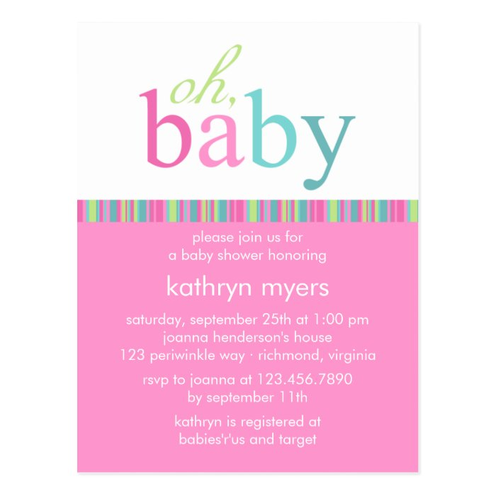 candy colors pink baby shower invitation postcard zazzle