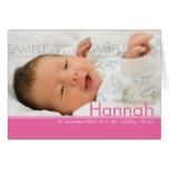 Candy Colors Pink Geburtskarte - Baby Announcement Card