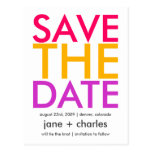 Candy Colors Pink, Orange & Purple Save the Date Post Cards