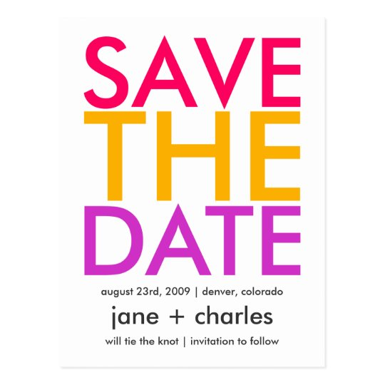 Candy Colors Pink, Orange & Purple Save the Date Postcard