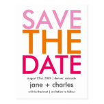 Candy Colors Pink & Orange Save the Date Post Card