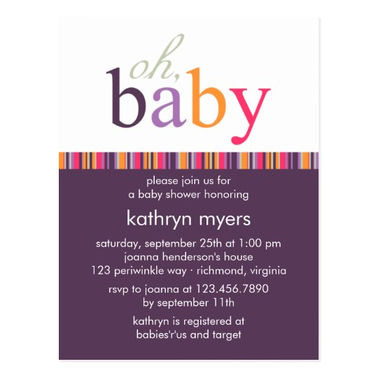 Candy Colors Purple • Baby Shower Invitation Postcard