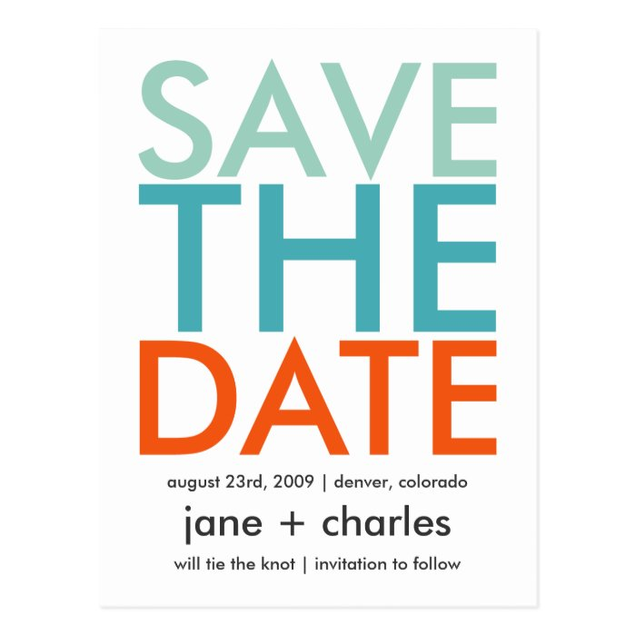 Candy Colors Turquoise & Orange Save the Date Postcard