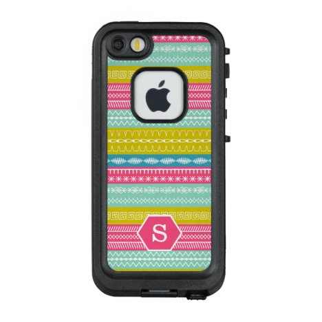 Candy colors with sewing stitches monogrammed LifeProof FRĒ iPhone SE/5/5s case