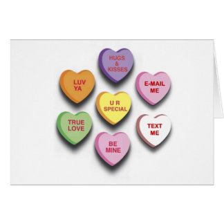 Candy Conversation Hearts Gifts and Apparel Greeting Cards