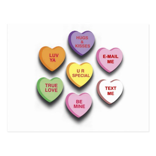 Candy Conversation Hearts Gifts and Apparel Postcard