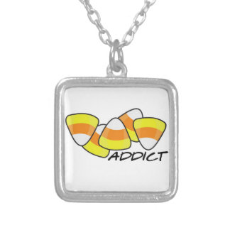 Candy Corn Addict Silver Plated Necklace