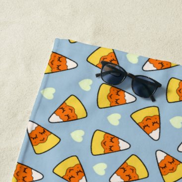 Halloween Themed Candy Corn and Heart Pattern Beach Towel