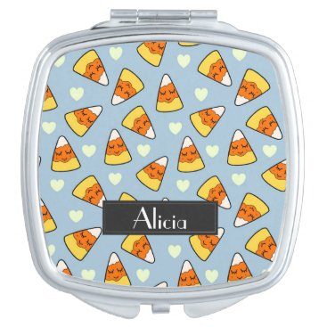 Halloween Themed Candy Corn and Heart Pattern Compact Mirror