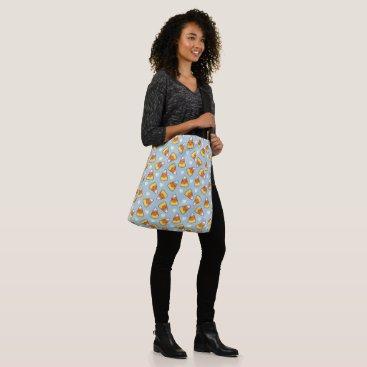 Halloween Themed Candy Corn and Heart Pattern Crossbody Bag