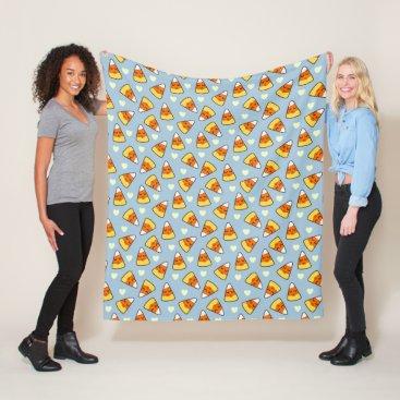 Halloween Themed Candy Corn and Heart Pattern Fleece Blanket