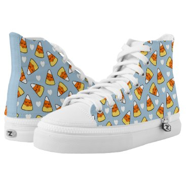 Halloween Themed Candy Corn and Heart Pattern High-Top Sneakers