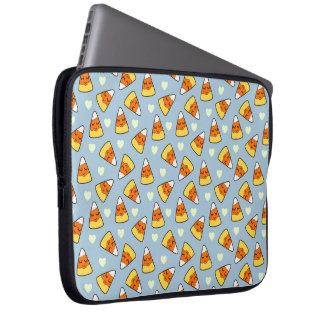 Candy Corn and Heart Pattern Laptop Sleeve