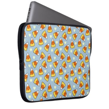 Halloween Themed Candy Corn and Heart Pattern Laptop Sleeve
