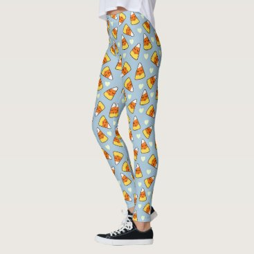 Halloween Themed Candy Corn and Heart Pattern Leggings