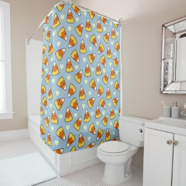 Halloween Themed Candy Corn and Heart Pattern Shower Curtain