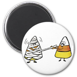 Candy Corn and Mummy 2 Inch Round Magnet