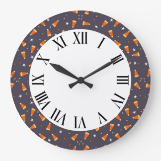 Candy corn and Stars Halloween Decor Clock
