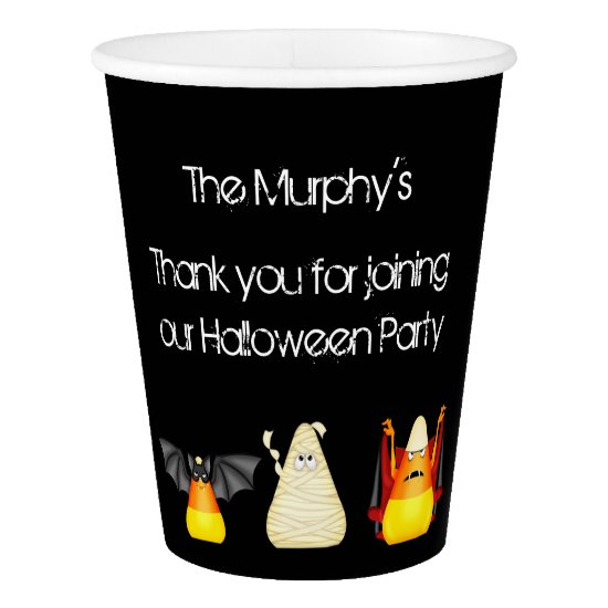 Candy Corn Bat Dracula Mummy Halloween Paper Cup