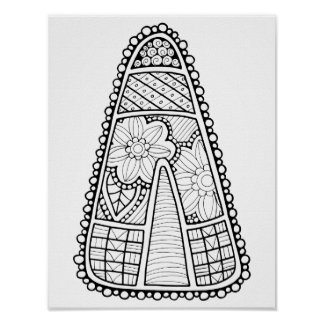 Candy Corn Cardstock Adult Coloring Page Poster