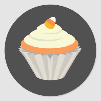 Candy Corn Cupcake Halloween Sticker