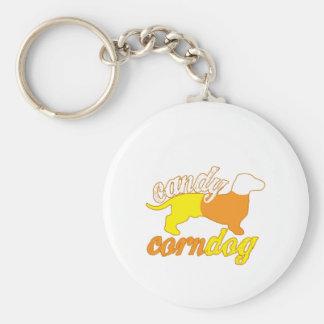 Candy Corn Dog Basic Round Button Keychain
