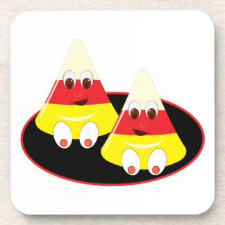 Candy Corn Faces Drink Coasters