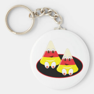 Candy Corn Faces Basic Round Button Keychain
