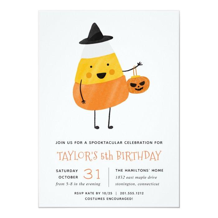Candy Corn Halloween Birthday Party Invitation