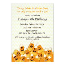 Candy Corn Halloween Birthday Party Invitation