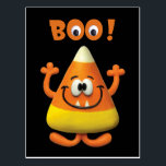 """Candy Corn Halloween Boo Party Postcard<br><div class=""""desc"""">Clay Candy Corn Monster figure made using polymer clay that is baked in an oven and painted with acrylics. The final product is photographed and digitally enhanced.</div>"""