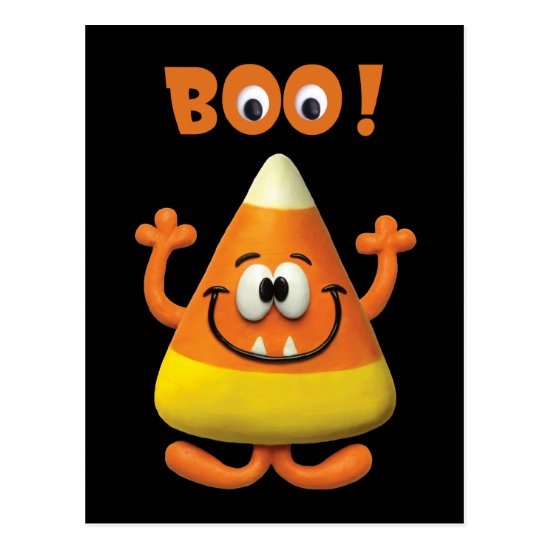Candy Corn Halloween Boo Party Postcard