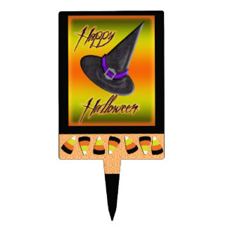 candy corn & halloween hat cake topper
