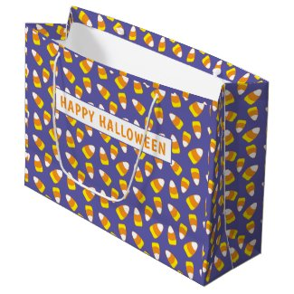 Candy Corn Halloween Pattern Large Gift Bag