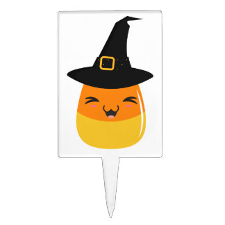 Candy Corn Halloween Witch Cake Topper
